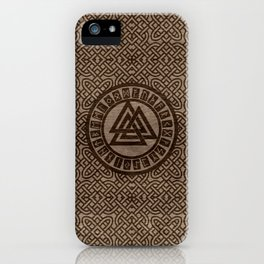 Valknut Symbol and Runes on Celtic Pattern on Wood iPhone Case