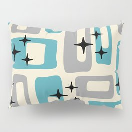 Retro Mid Century Modern Abstract Pattern 223 Blue and Gray Pillow Sham
