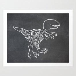 Raptor Dinosaur (A.K.A Bird of Prey) Butcher Meat Diagram Art Print