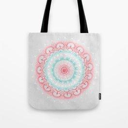 Teal & Coral Glow Medallion Tote Bag