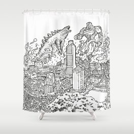 DINOvsROBOTROOPER Shower Curtain
