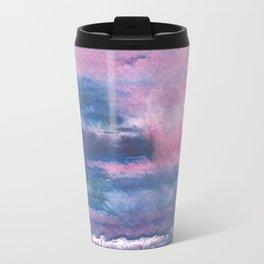 Pink Blue streaked watercolor painting Travel Mug