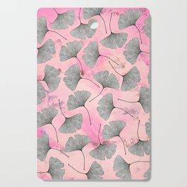 botanical biloba drawing pattern on pink watercolor marble Cutting Board