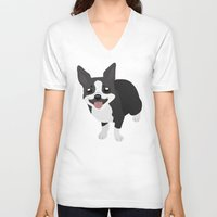 boston terrier V-neck T-shirts featuring Boston Terrier by Sarah