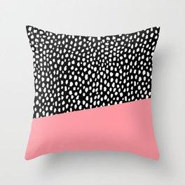 Handmade Polka Dot Brush Spots with Pink Stripe Throw Pillow
