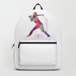 Girl Baseball Player Softball Batter Colorful Watercolor Art Backpack