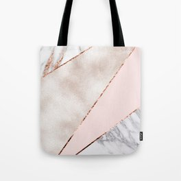 Spliced mixed rose gold marble Tote Bag