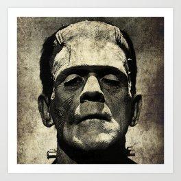 Frankenstein Grunge Art Print