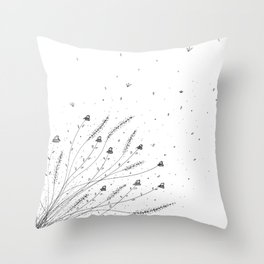 Chamomile Flowers Black and White Throw Pillow
