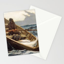 Winslow Homer1 - The Fog Warning, Halibut Fishing - Digital Remastered Edition Stationery Cards