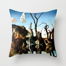 Salvador Dali Swans Reflecting Elephants 1937 Artwork for Wall Art, Prints, Posters, Tshirts, Men, Women, Kids Throw Pillow
