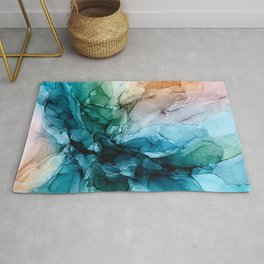 Salty Shores Abstract Painting Rug