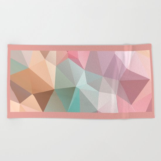 Abstract triangles polygonal pattern Beach Towel