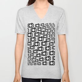 Photography Obsession, Camera Pattern Black and White Vector Unisex V-Neck