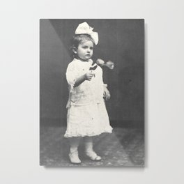 1860 Girl with Flowers Metal Print