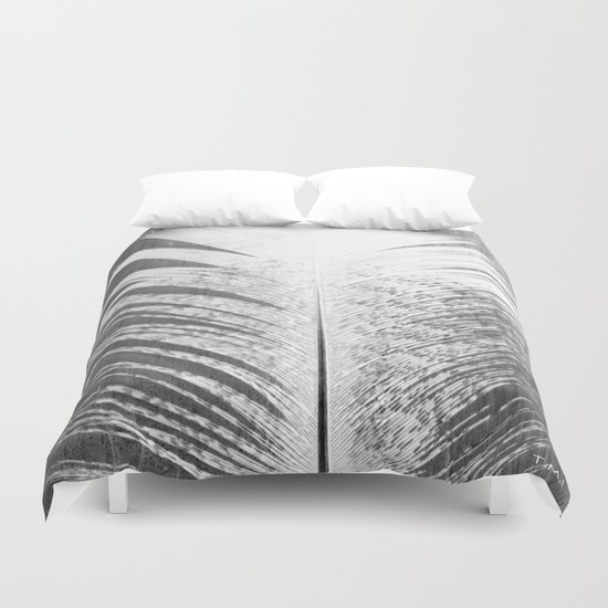 White and Grey Feather Duvet Cover