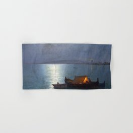Coastal Marine Seascape Moonlit Boat and Lighthouse landscape painting by Guillermo Gomez Gil Hand & Bath Towel