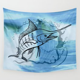 Blue Marlin Wall Tapestry