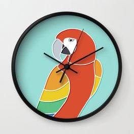 Rainbow Parrot on Mint Wall Clock