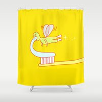 tooth Shower Curtains featuring Tooth fairy by simon oxley idokungfoo.com