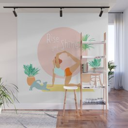 'Rise and Shine' Yoga Girl Power Wall Mural