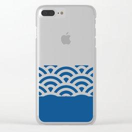 Rainbow Trim Deep Dark Ocean Blue Clear iPhone Case