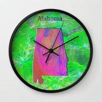 alabama Wall Clocks featuring Alabama Map by Roger Wedegis