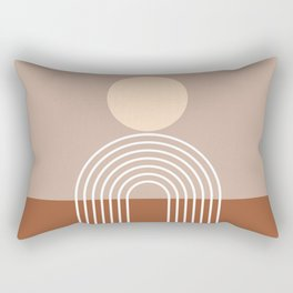 Geometric Lines in Terracotta Brown Beige (Sun and Rainbow abstraction) Rectangular Pillow