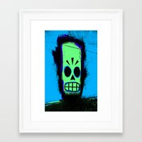 grim fandango Framed Art Prints featuring Manny Calavera, Blue version (Grim Fandango) by acefecoo