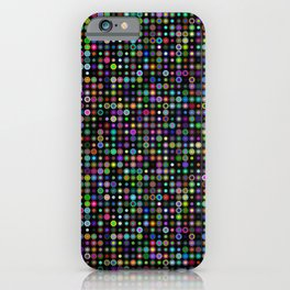 Cyber atomic flowers on black background iPhone Case