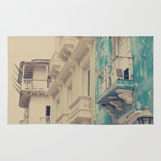 Grunge Summer Town (Retro and Vintage Urban, architecture photography, blue and cream) Rug