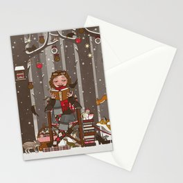 Lily reads Stationery Cards