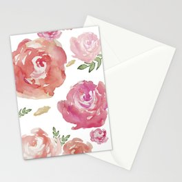 Peonies pink red flowers iPhone-galaxy case Stationery Cards