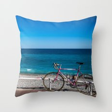 Beach and the bike - Nice, France summer Throw Pillow