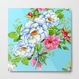 Graceful Floral Print on Easter-Egg-Blue Background Metal Print