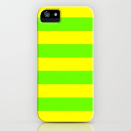 Bright Neon Green and Yellow Horizontal Cabana Tent Stripes iPhone Case