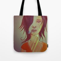 smoking Tote Bags featuring Smoking by IOSQ