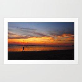 Boy alone at sunset Art Print