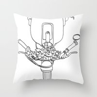 motorbike Throw Pillows featuring Motorbike by Jessica's Illustrationart