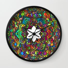 Rainbow mandala star Wall Clock