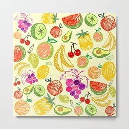 Assorted Fruits Artwork Metal Print