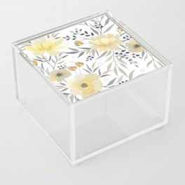 Modern, Floral Prints, Yellow, Gray and White Acrylic Box