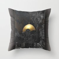 palestine Throw Pillows featuring Dome of the Rock by dominiquelandau