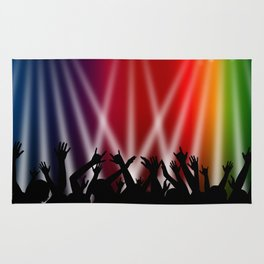 Dancing Crowd With Multi Colour and White Spotlights Rug