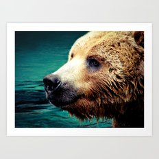 HAPPY GRIZZLY Art Print