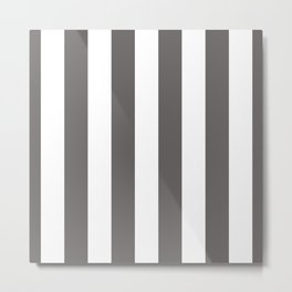 Ash Gray and White Vertical Cabana Tent Stripes Metal Print