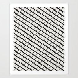 Modern Diamond Lattice 2 Black on Light Gray Art Print