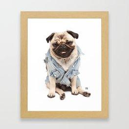 Helmut the Pug - Jean Jacket Framed Art Print