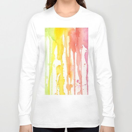 Rainbow Watercolor Texture Pattern Abstract Long Sleeve T-shirt