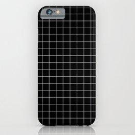 Large White Grid on Black iPhone Case